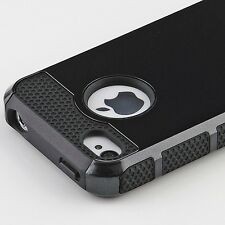 Hybrid Rugged Rubber Matte Hard Protective Case Cover For iPhone 4G 4S + Film BK