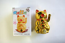 """Chinese Lucky Waving Cat Arm Wealth Prosperity Feng Shui Plastic Cat (Gold) 4.5"""""""