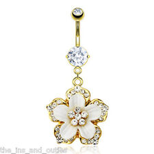 14k Gold Plated Gemmed Flower Belly Ring Navel Pierced Body Jewelry Dangle w547