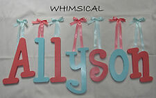 "Wooden Wall Letters 10"" size Painted Wood Child Nursery Playroom Decor Whimsical"