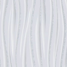 New Vymura Luxury Embellished  Wave Glitter Effect - Wallpaper in Grey - M0894
