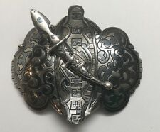 Antique Russian Niello 84 Silver Buckle With Sword