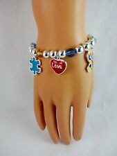 Autism awareness bracelet 8 inches puzzle piece silver beads love hope charms