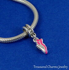 Silver and Pink Running Shoe Marathon Dangle Bead fits European Charm Bracelets