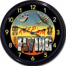 WWll Clock Military Airplanes Wall Clock Keep 'em Flying Post Card image New 10""