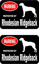 2 protected by Rhodesian Ridgeback dog bumper home window vinyl decals stickers