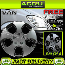 "16"" VW Golf GTI Look Silver Van Curved Wheel Trims Hub Cap Covers Set+Free"