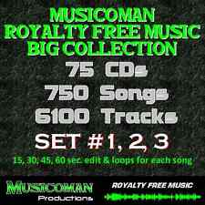 75 CDs DOWNLOAD - ''' NEW PRICE ''' ROYALTY FREE MUSIC 6100 TRACKS - 750 SONGS