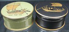 Lot of 2 Vintage Pot lids Trinket Box~Sandland Hanley Staffordshire Ships