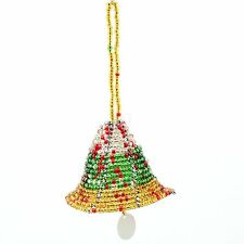 Multi Color Handmade African Maasai Bead Christmas Tree Bell Ornament