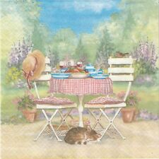 2 Serviettes en papier Paysage Table Jardin Chat - Paper Napkins On Garden Table
