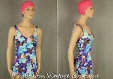 Vtg ROSE MARIE REID Floral Rockabilly One-Piece Bathing Swimwear Swimsuit Pin-Up