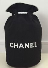 Chanel Black Canvas Drawstring Bucket Travel Cosmetic Bag VIP Gift