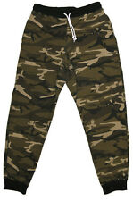 Men's Camo Fleece French Terry Sweatpants Sports Jogger Pants Casual Elastic