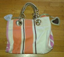 Large Juicy Couture Purse Awning Stripe Orange Tan Pink Chain Handles