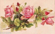 "Victorian Pink Stem Roses Buds Fabric Block 5 1/2"" by 8 1/2"" Chic and Shabby"