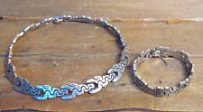Mid Century Vintage Taxco Mexican .925 Sterling Silver Snake Choker And Bracelet