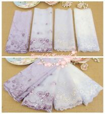 """LOT~4Y~7"""" Assorted Embroidered Tulle Lace Trim~White&Purple~Spring Group D~"""