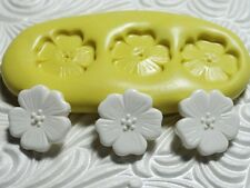 Silicone Resin Polymer Clay Fondant Flexible Push Mold FLOWER TRIO 599