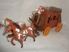 1/32 G-SCALE OLD WESTERN STAGECOACH WITH 2 HORSES & MAN Brand New