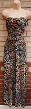 TU WHITE BLACK LEOPARD ANIMAL PRINT LYCRA BANDEAU FLIPPY FLARE LONG MAXI DRESS M