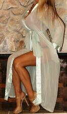 M / L 100% SILK LONG SHEER SATIN TRIM VINTAGE LINGERIE SLIP ROBE