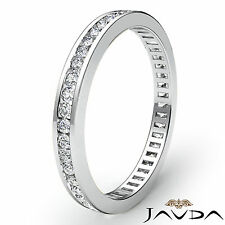 Womens Eternity Band Channel Set Diamond Engagement Ring 18k White Gold 0.70Ct