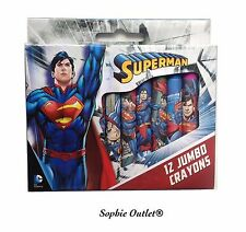 12 Piezas SUPERMAN Infantil JUMBO CRAYONES SET Escuela Para colorear Cumpleaños