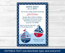 Sail Away Sailboat Nautical Blue Printable Baby Shower Invitation Editable PDF