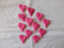 12  Herzen Rosa Dunkel Filz Streudeko  Streuelemente Basteln  ca.35x27mm