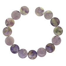 """15 Russian Charoite Flat Round Coin Beads ap. 14mm 8.2"""" #86250"""