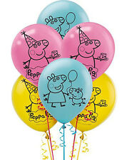 "NEW Peppa Pig 12"" Latex Balloons ~ Birthday Decoration Party Favor Supplies -6ct"