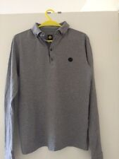 Pretty Green Grey Long Sleeved Polo Green Label Size Small LG Oasis Liam