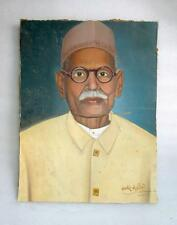 Old Rare Vintage Indian Farsi Tribal Old Age Man Portrait Oil Painting Board