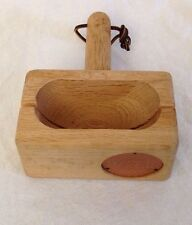 Wood w/ Copper Bagel Cutter/Slicer Hand Crafted USA Miter Box Style Artist Stamp