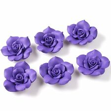 12x 110649+ Purple Flower Charms 40mm FIMO Polymer Clay Flatback Beads Findings