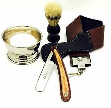 STRAIGHT RAZOR ZEVA WOODEN HANDLE MEN Shaving GIFT SET 5 PCS