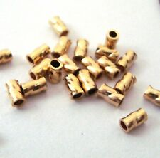 100pcs 2x3mm 14k Yellow Gold Filled twisted crimp bead tube spacer Findings GS40