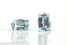 9ct White Gold Blue Topaz Stud earrings Gift Boxed Made in UK