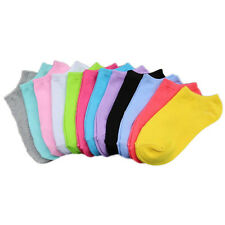 Mujer Cute Calcetines 10 Pares solid candy color Equipo De Tobillo Flexible