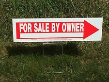 "(THREE) 6.5"" X 24"" FOR SALE BY OWNER Corrugated Plastic Road Signs"