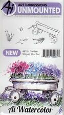 New ART IMPRESSIONS RUBBER STAMP Cling MINI watercolor set garden wagon flowers
