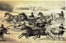 Trotters RACE HORSES SLEIGHS in SNOW TROTTING 1869 Thomas Worth Print Matted