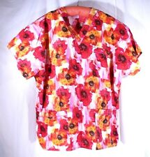 SCRUBS Plus Size 3XL See Measurements Bright Floral Scrub Top 3 Pocket