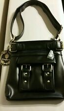 EMPERIA - Classic Belted Messenger Bag Black Faux Leather