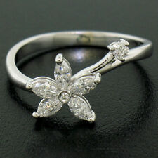 NEW Petite 18K White Gold 0.33ctw F VS Marquise Round Diamond Flower Ring Sz 6.5