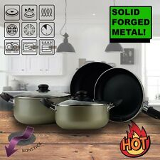Amel 10 Piece Non-Stick Cookware Set Dutch Oven Fry Pan Tempered Glass Lids