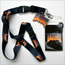 Doom Classic Art Logo Lanyard Necklace ID Holder Keychain With Sticker LICENSED