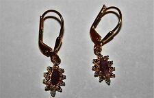 Genuine Ruby & Diamond Accent Hoop Earrings 18K Gold /Sterling Silver