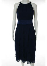 NWT EVAN PICONE DRESS Bright Blue Round Neck Sleeveless Tiered Dress Sz 4